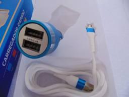 Carregador Para Carro Com Cabo Para Celular V8 + 2 saidas USB