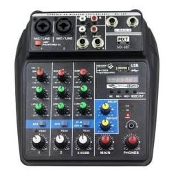 Mesa De Som Bluetooth Com 4 Canais Efeito E Phantom Power MX-4BT
