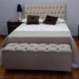 Promoção kit completo com cama box conjugado com cabeçeira painel e baú