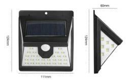 Luminária Solar Parede 40 Smd Sensor Presença 3 Funções 8w