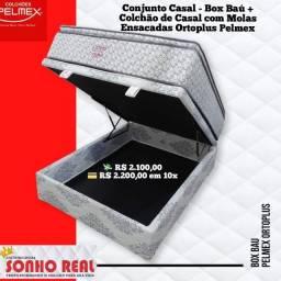 Conjunto Casal Ortoplus - colchão de molas Ensacadas +box baú Pelmex