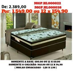 Título do anúncio: Conjunto Box Mola Ensacada 1,58 Queen- Cama Casal Queen-Colchões+Base-Saldão MS