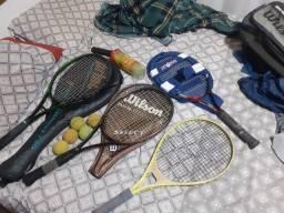 Raquete bolsas semi-novas bolinhas semi-novas de 2 kg de cordas novas