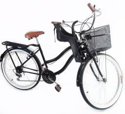 Bicicleta retrô com cadeirinha infantil 18 marchas nova