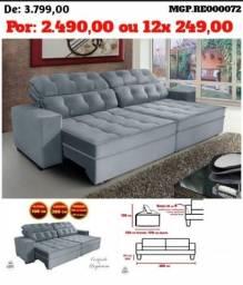 Sofa Retratil e Reclinavel 2,80 em Veludo, Molas e Botones e Bordado - Estofado