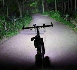Kit Luz Iluminação Bike Farol Lanterna Segurança Recarregáve Cabo USB