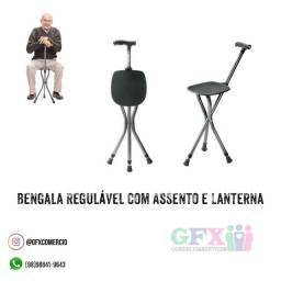 Bengala regulável com assento e lanterna por 160$