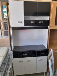 Armário de Cozinha 6 Portas - Branco/Preto - Oferta!