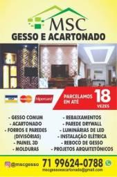 Título do anúncio: GESSO, Forros, Divisórias, Materiais, Painel 3D, Acartonado e Drywall em Lauro de Freitas