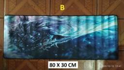 Mouse pad gamer_80 x 30 cm_sublimado_várias estampas_bordas costuradas_top