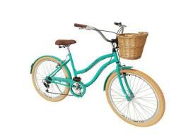 Bicicleta vintage retrô com cesta de vime 6 velocidades nova