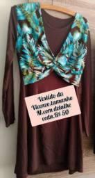 Vestido em malha/algodão/poliéster,detalhes em seda floral.