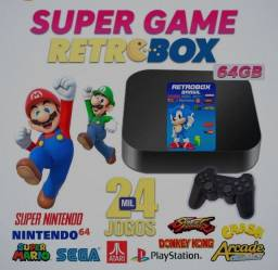 Retrô Game Box - Vídeo Game com 2 Controles Bluetooth 64gb