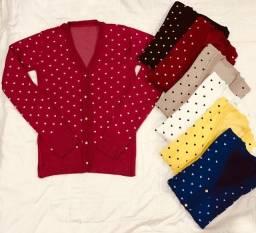 Blusa frio Cardigan TRICOT , manga longa, casaquinho várias cores