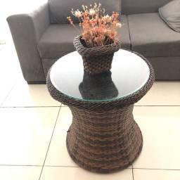 Mesa de centro modelo pilão em fibra natural alta qualidade