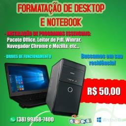 Formatação de notebook e PC's