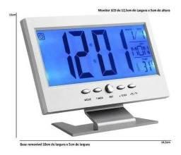 Relógio De Mesa Digital Despertador Temperatura Led Azul