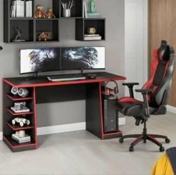 Mesa para Computador / Gamer XP com 6 Prateleiras e Gancho para HeadSet