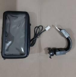 Suporte celular para moto com carregador