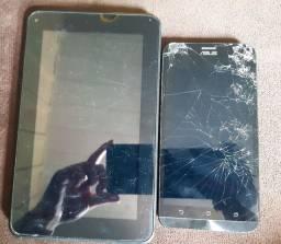 Tablet DL Anatel e celular Asus para retirada de peças