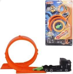 Brinquedo Carreta e Mini Carro c/ lançador e pista (Entrega Imediata)