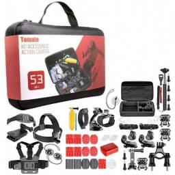 (WhatsApp) kit maleta acessórios action câmera 53 em 1 - tomate