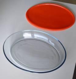 Travessa Oval de vidro com tampa