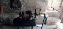 Compressor com mangueira nova e motor extra - pistola pneumática - macaco jacaré NOVO