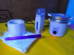 Kit Mega Bell depilação panelinha termocera + aquecedor roll on