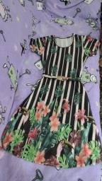 Vestido floral listrado