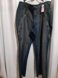 Calça jeans feminina com lycra tam 60/62