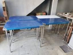 mesa com travamento inox, tudo sob medida