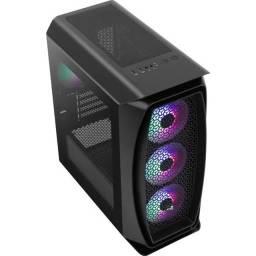 Gabinete Gamer Mini Tower Aero One Mini Frost Preto Incluso 4 fans RGB Aerocool
