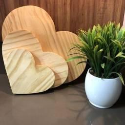 Presente Dia dos namorados - kit com 3 corações em madeira