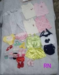Lote roupas e sapatos RN a G menina