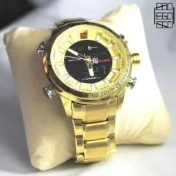 3c4516d7282 Relógio Masculino Naviforce Dourado Digital Aço Original
