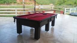 Mesa Madeira Caçapa Redes Cor Preta Tecido Vermelho Mod. LWFF7651