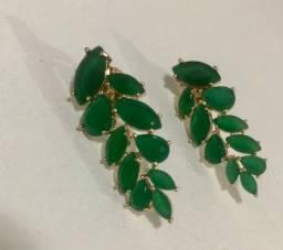 Brinco Semijoia Verde