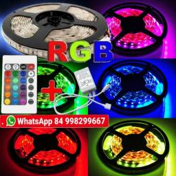 fita de led rgb 5050 fica ate 16 cores varios efeitos rolo 5 metros + central + contole
