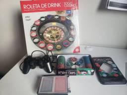 Jogos, roleta de drink, poder, baralho e controle USB