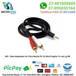 603 - Cabo Adaptador Av 2 Rca Macho P2 3,5 Mini Projetor Tv Led Lg 2 mts