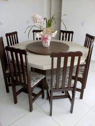 Mesa oitavada c/8 cadeira em madeira - preço de fabrica
