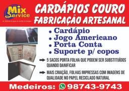 Cardápios Couro Fabricação Artesanal