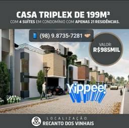 1-< Casa Triplex 03 suítes no Recanto dos Vinhais