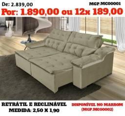 Liquida Estofados - Sofa Retratil e Reclinavel 2,50 Direto da Fabrica
