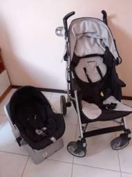 Carrinho com bebê conforto e base para carro