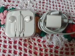 Carregador e fone original Apple
