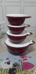 Kit com 4 tigelas Criativas Na Cor Marsala Tupperware