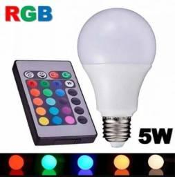 Lâmpada Bulbo Led 5w Rgb Bivolt Controle Remoto E27 Colorful