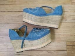 Flatform Sandália Jeans Azul
